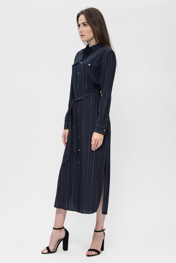 Женское темно-синее платье-рубашка