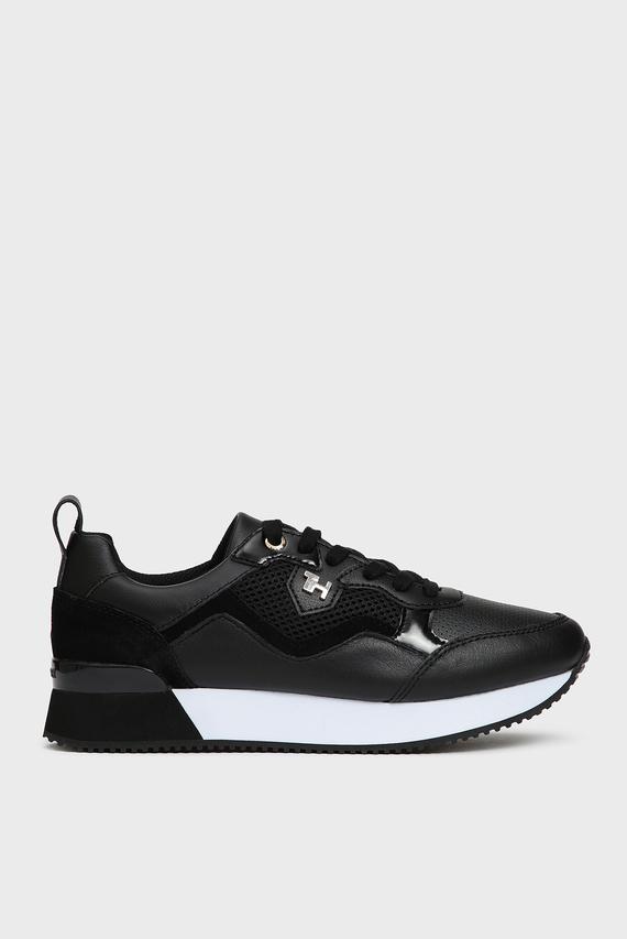 Женские черные кожаные кроссовки TOMMY DRESS CITY
