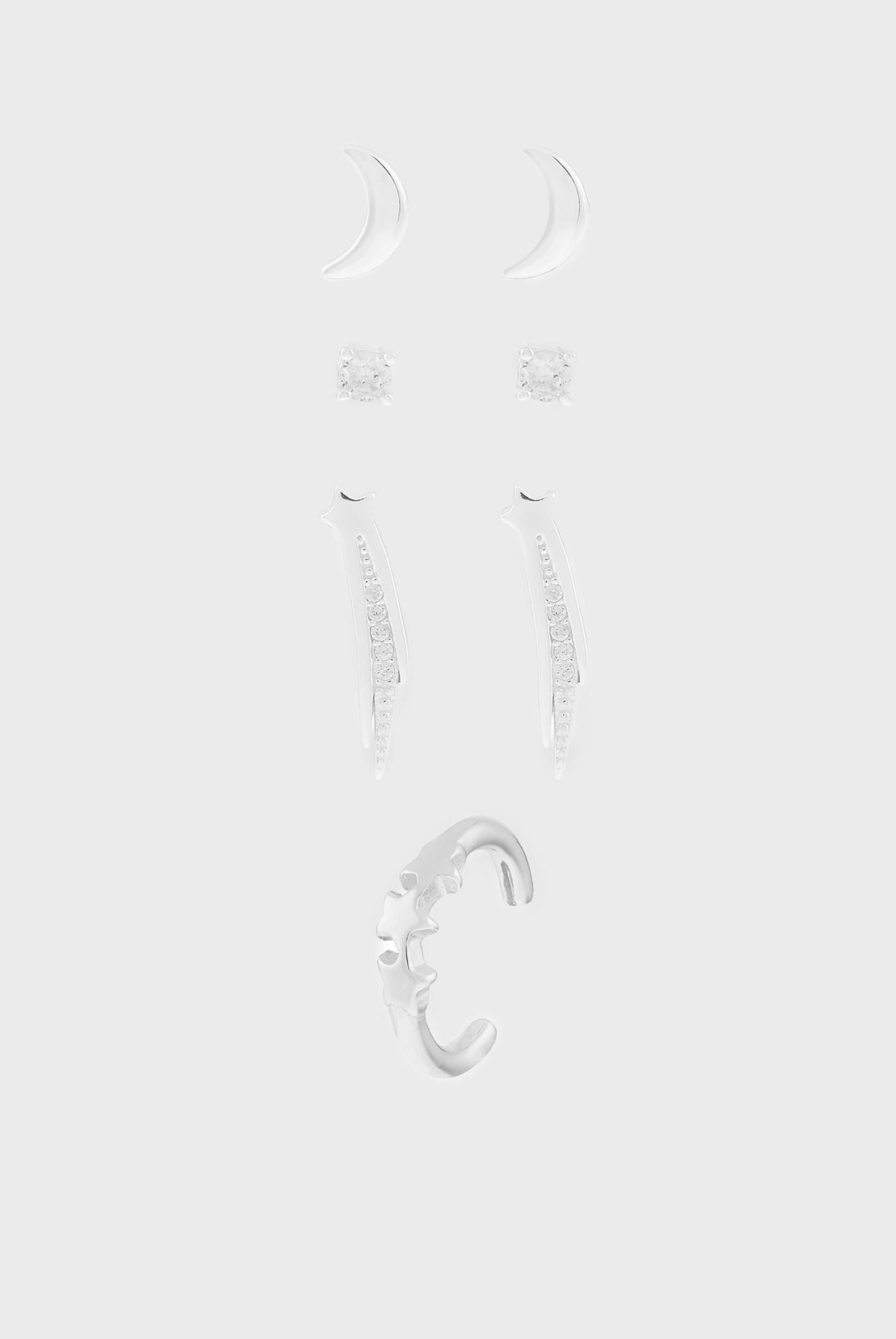 Жіночі срібні сережки (4 пари) ST 4 X CELESTIAL CUR 1