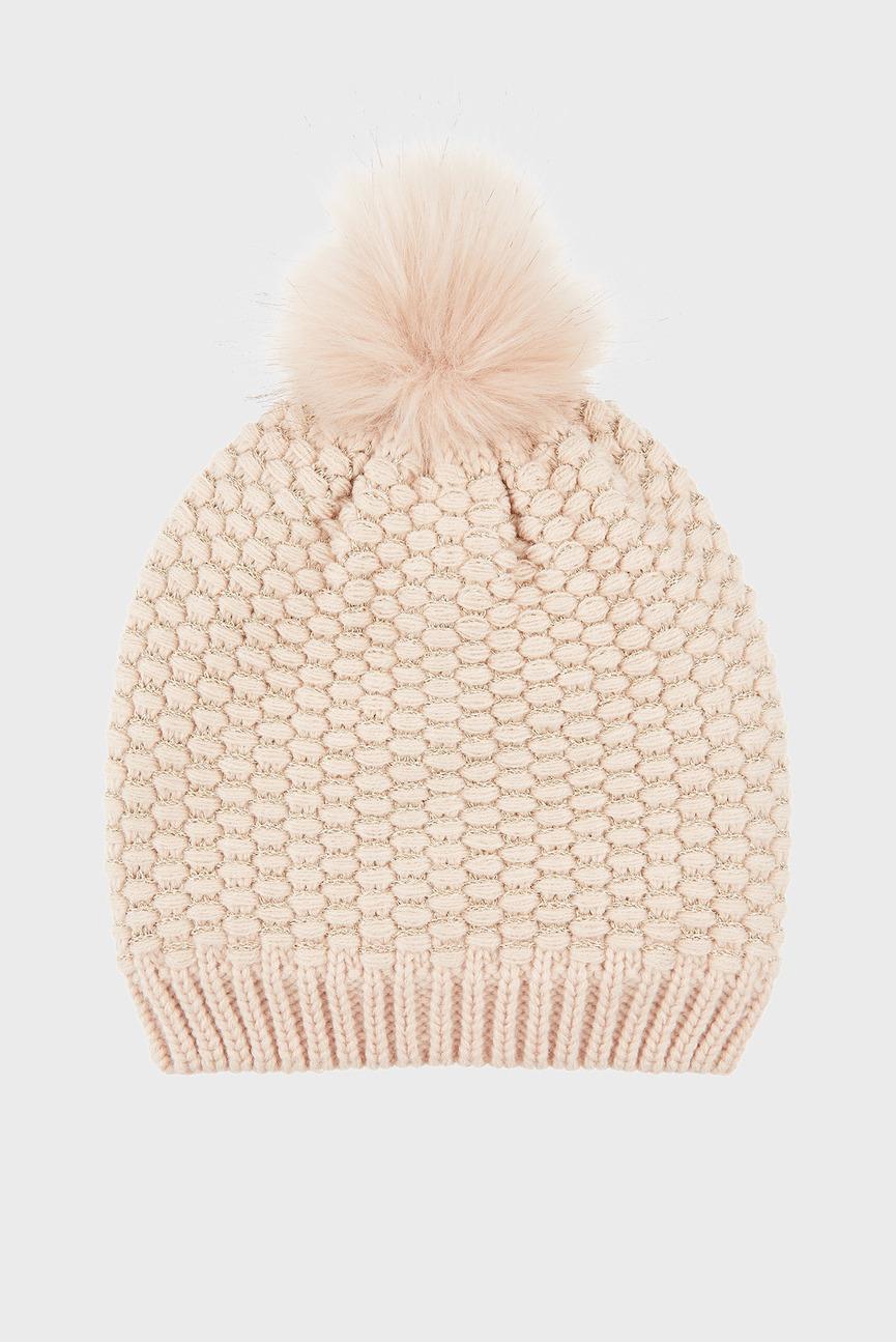 Женская розовая шапка THINS SPARKLE BOBBLE