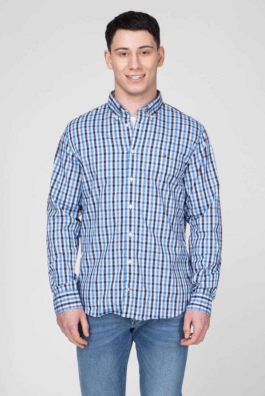 Мужская синяя рубашка в клетку HEATHER GINGHAM
