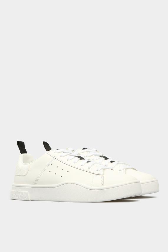 Женские белые кожаные сникеры H0038