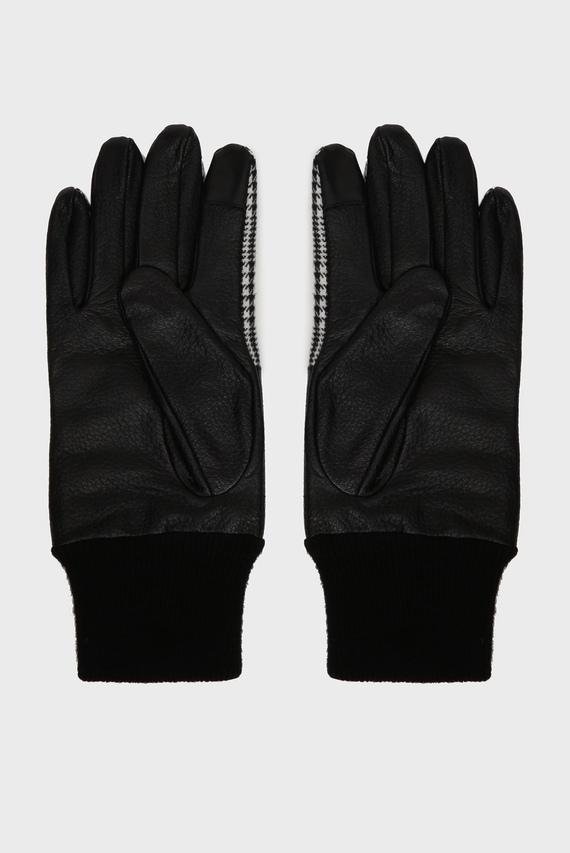 Мужские черные кожаные перчатки MIX MATERIAL