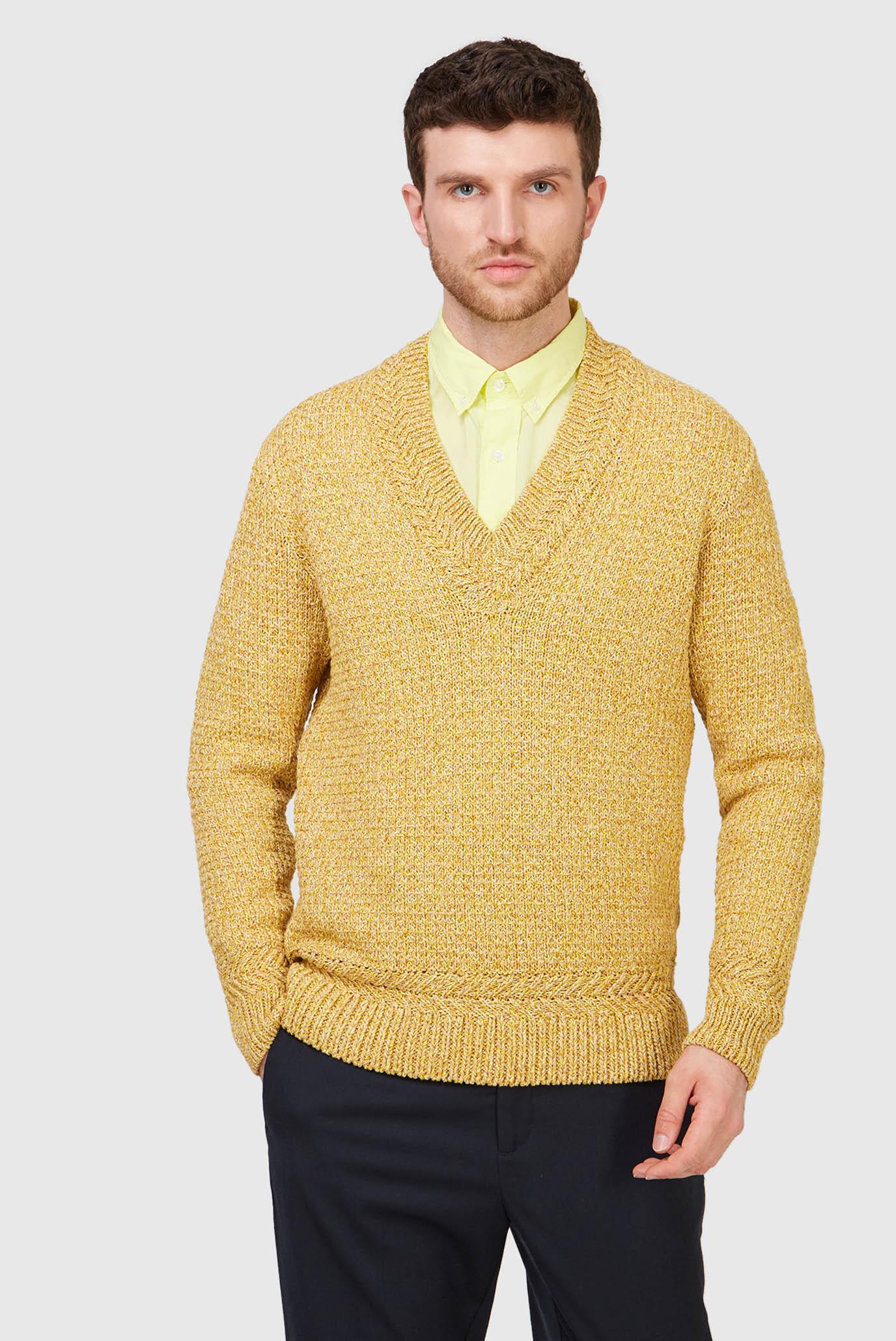 Мужской горчичный пуловер TWISTED 1