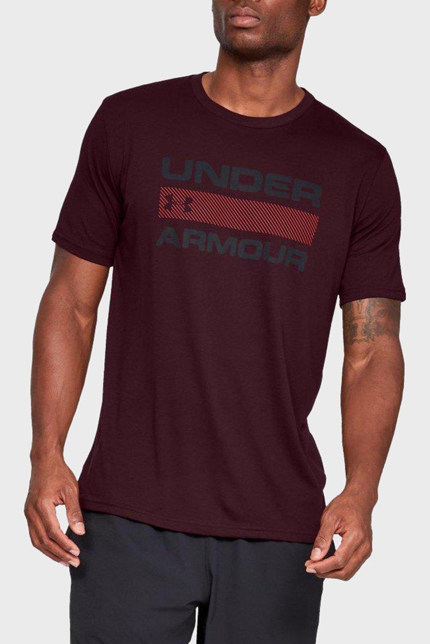 Мужская бордовая футболка UA TEAM ISSUE WORDMARK SS