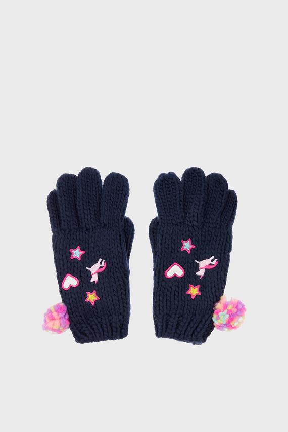 Детские синие перчатки LINED APPLIQUE BADGE