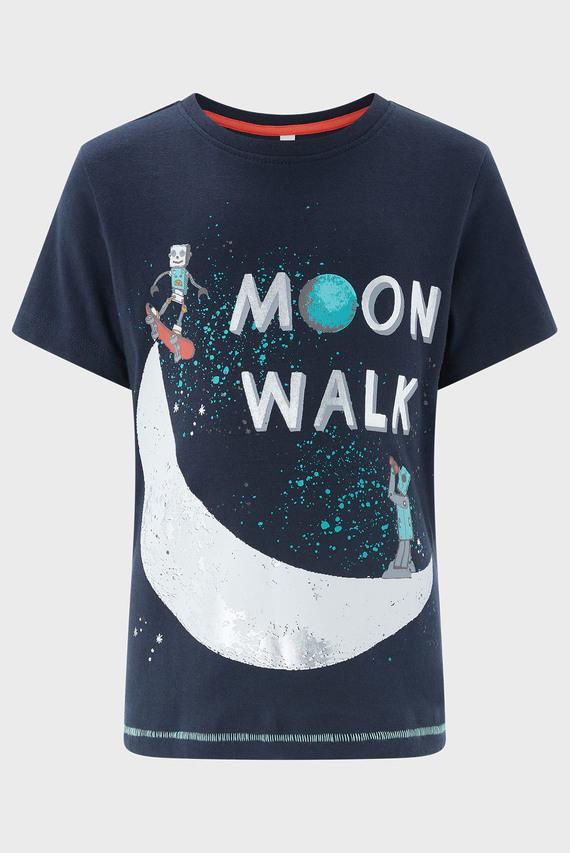 Детская темно-синяя футболка с принтом