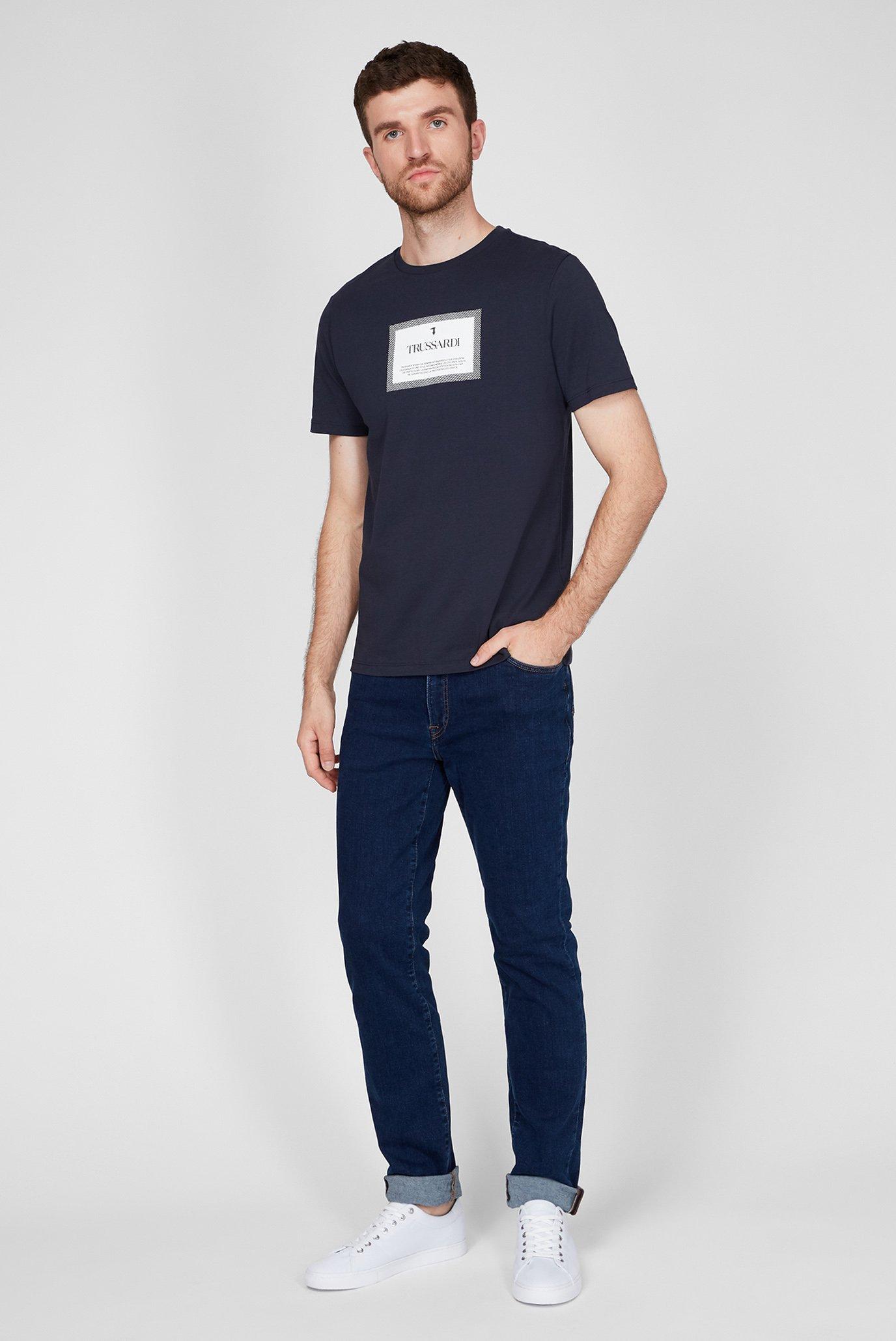 Мужская темно-синяя футболка REGULAR FIT Trussardi Jeans