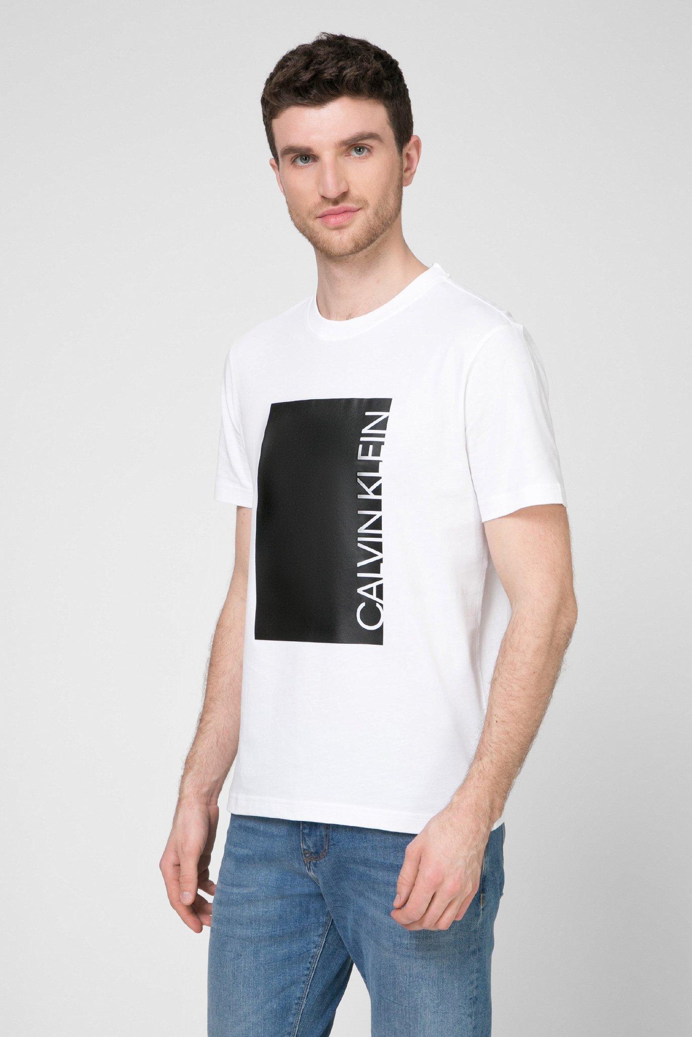 Мужская белая футболка CUT OUT PRINT Calvin Klein