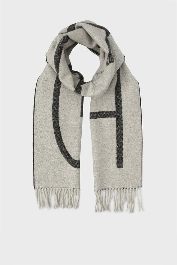 Мужской серый шерстяной шарф