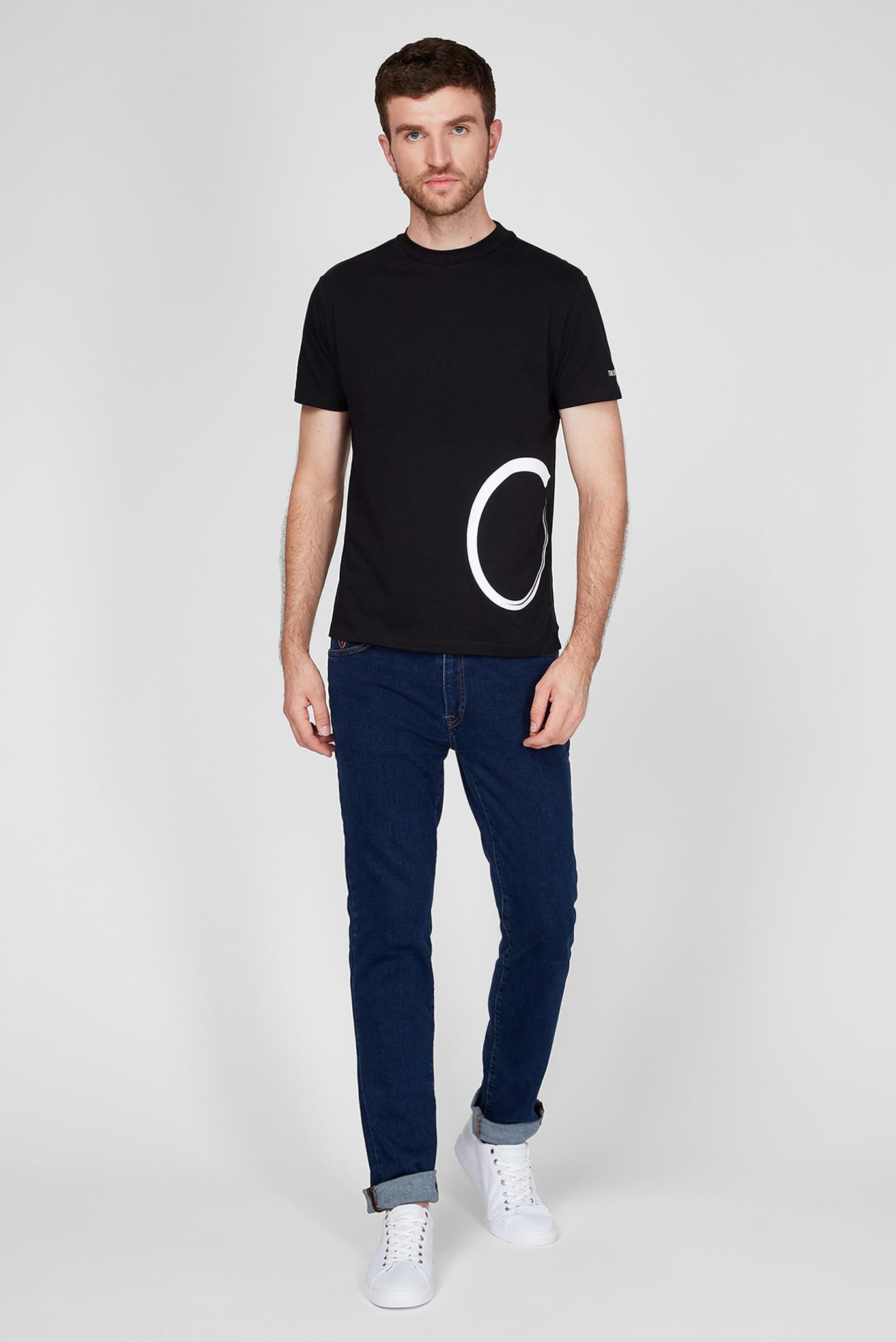Мужская черная футболка BOXY FIT Trussardi Jeans