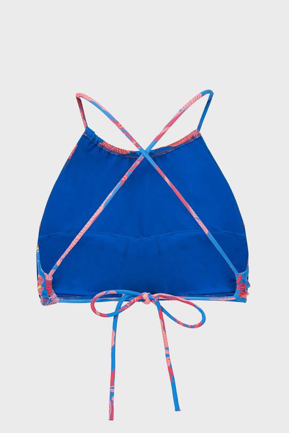 Женский синий лиф от купальника с принтом CROP TOP RP