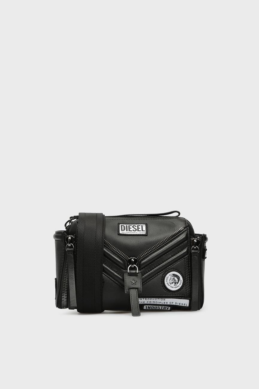 Женская черная кожаная сумка через плечо LE-ZIPPER