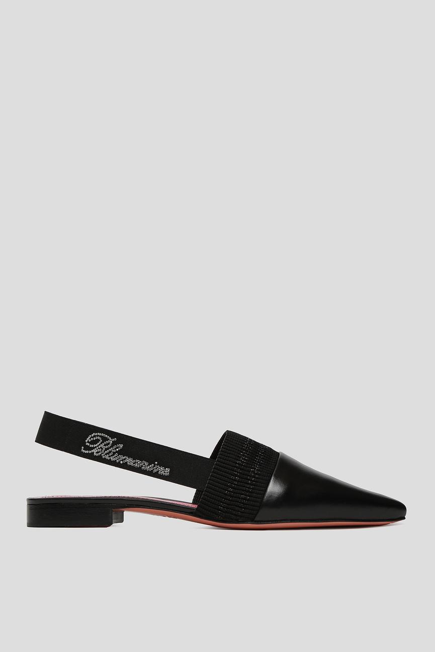 Женские черные кожаные слинбэки