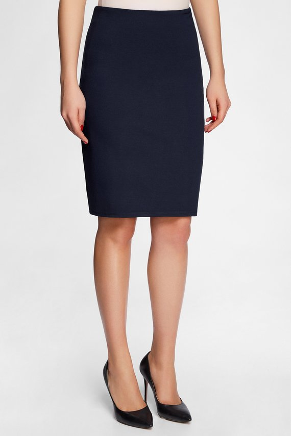 Женская синяя прямая юбка