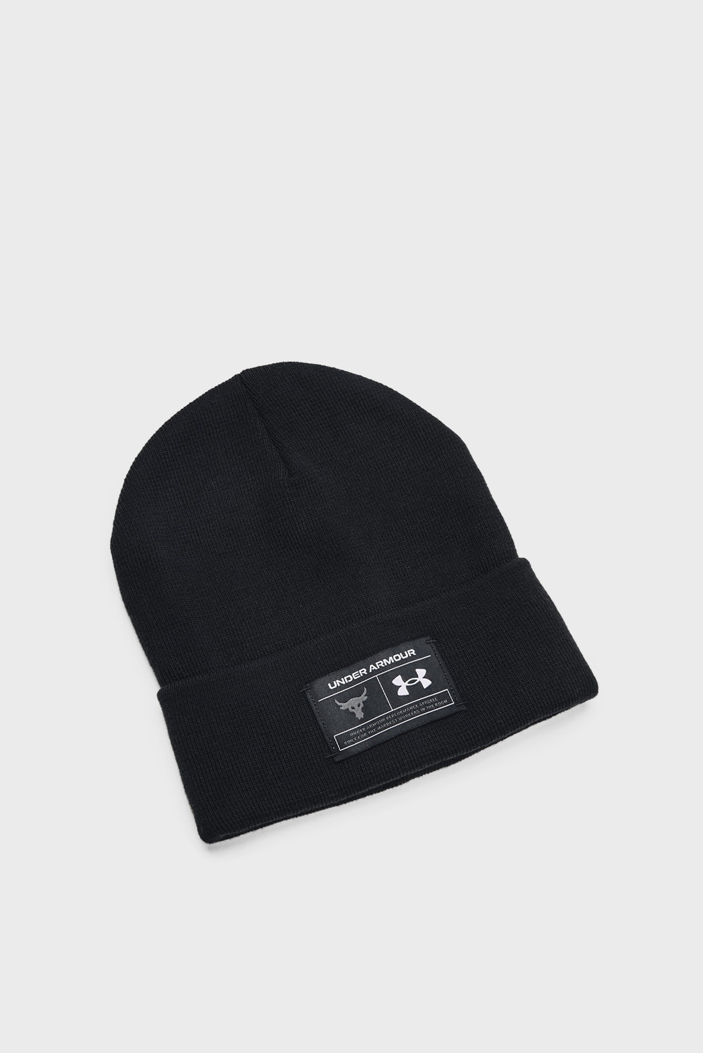 Мужская черная шапка UA Project Rock Cuff Beanie 1
