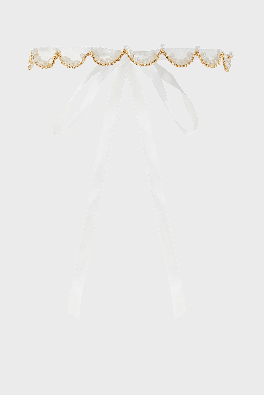 Детская белая повязка DIAMANTE PEARL CROWN GARLAND