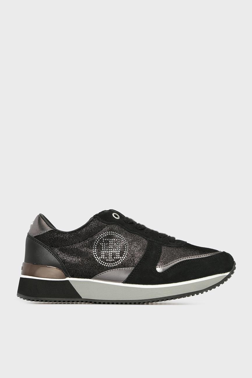 Женские черные замшевые кроссовки