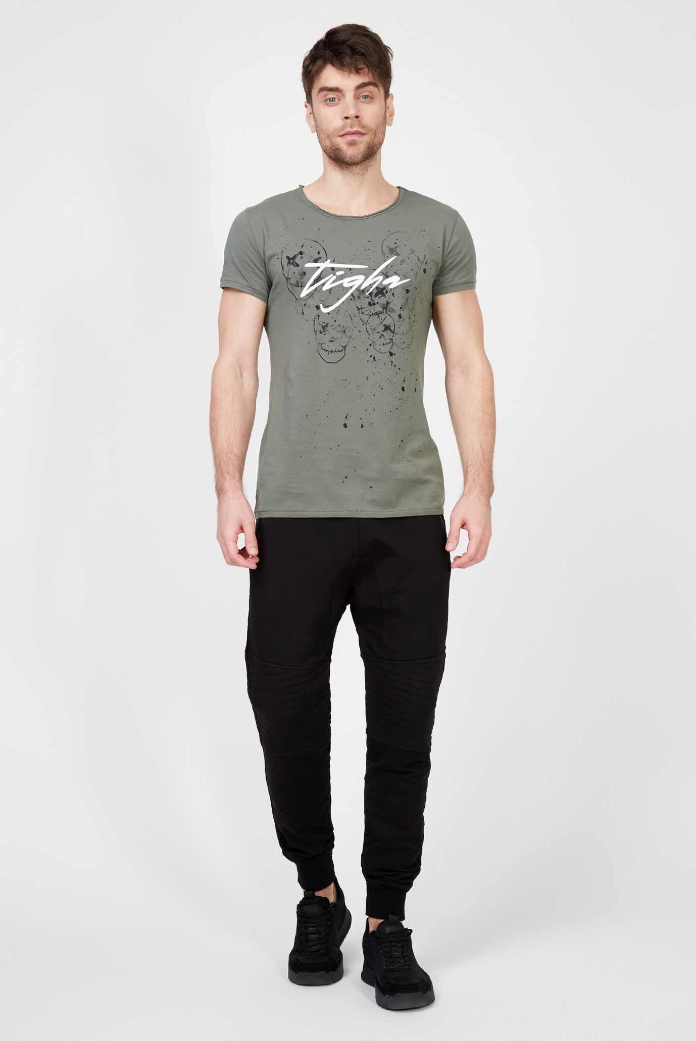 Мужская серая футболка с принтом Stamps Wren Tigha