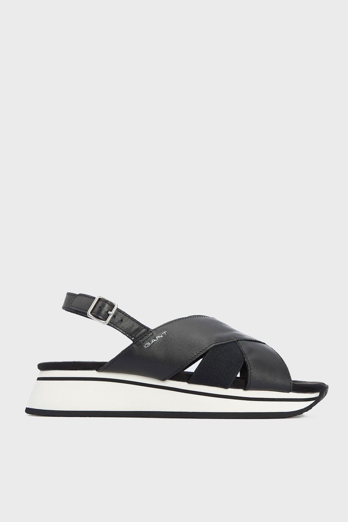 Жіночі чорні шкіряні сандалі JAIDYN 1