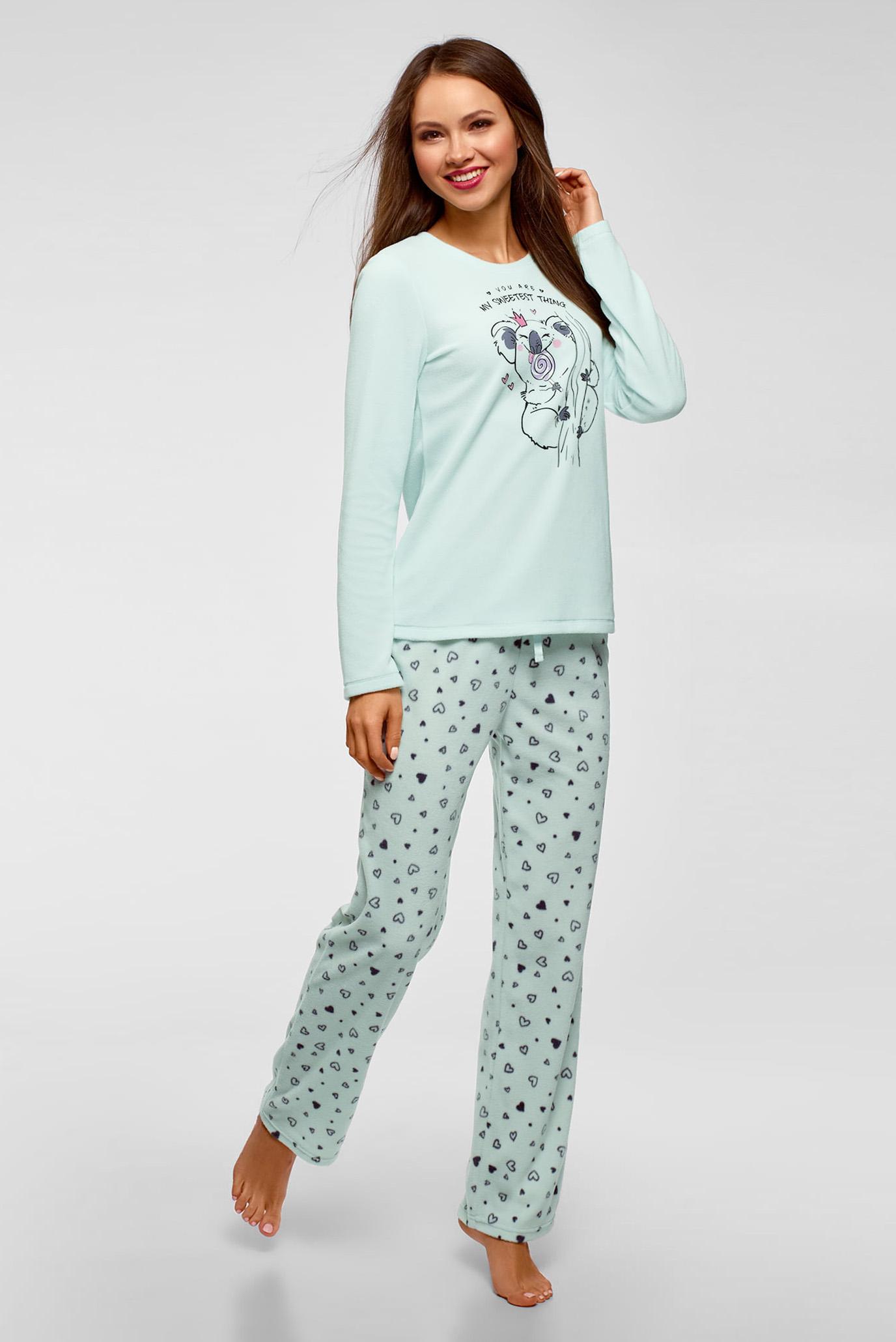 Женский мятный пижамный джемпер Oodji