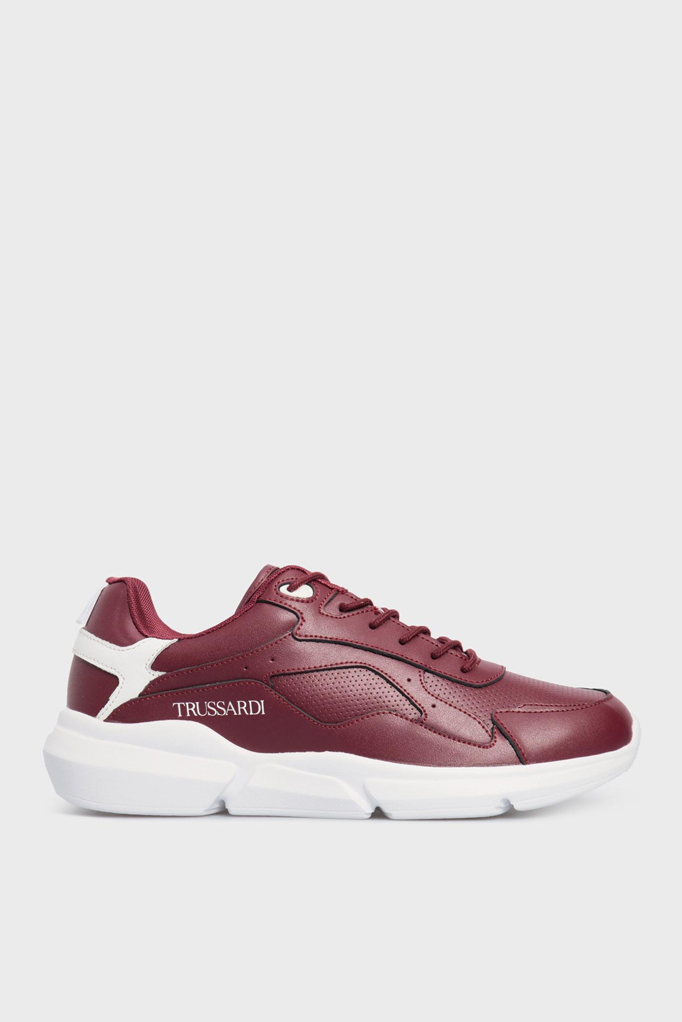 Мужские бордовые кожаные кроссовки TUIA 1
