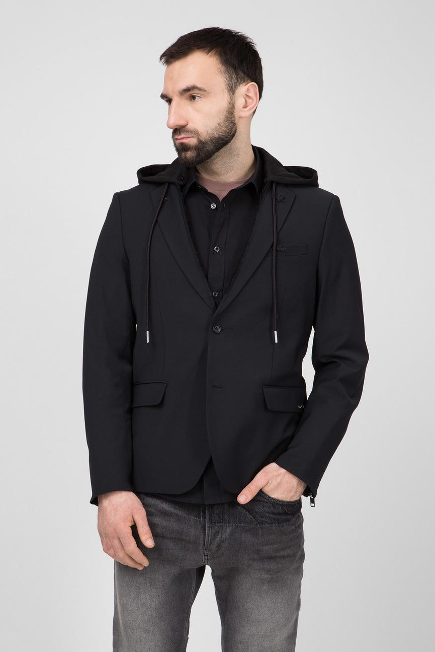 Мужской черный шерстяной пиджак J-FLAW