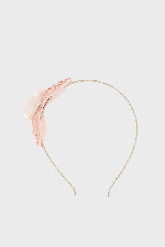 Детский розовый обруч Beaded Leaf Flower A