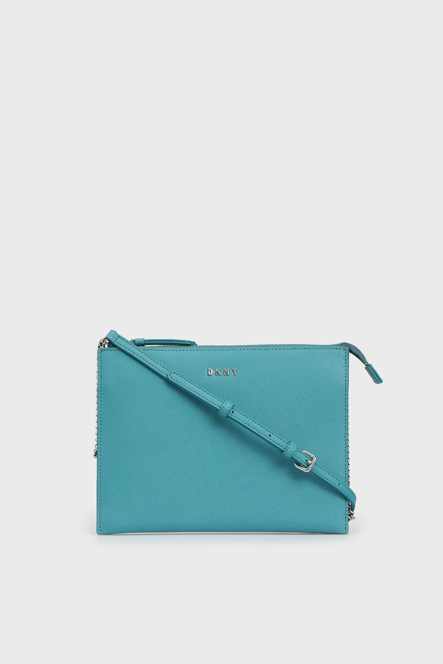 Женская голубая кожаная сумка через плечо