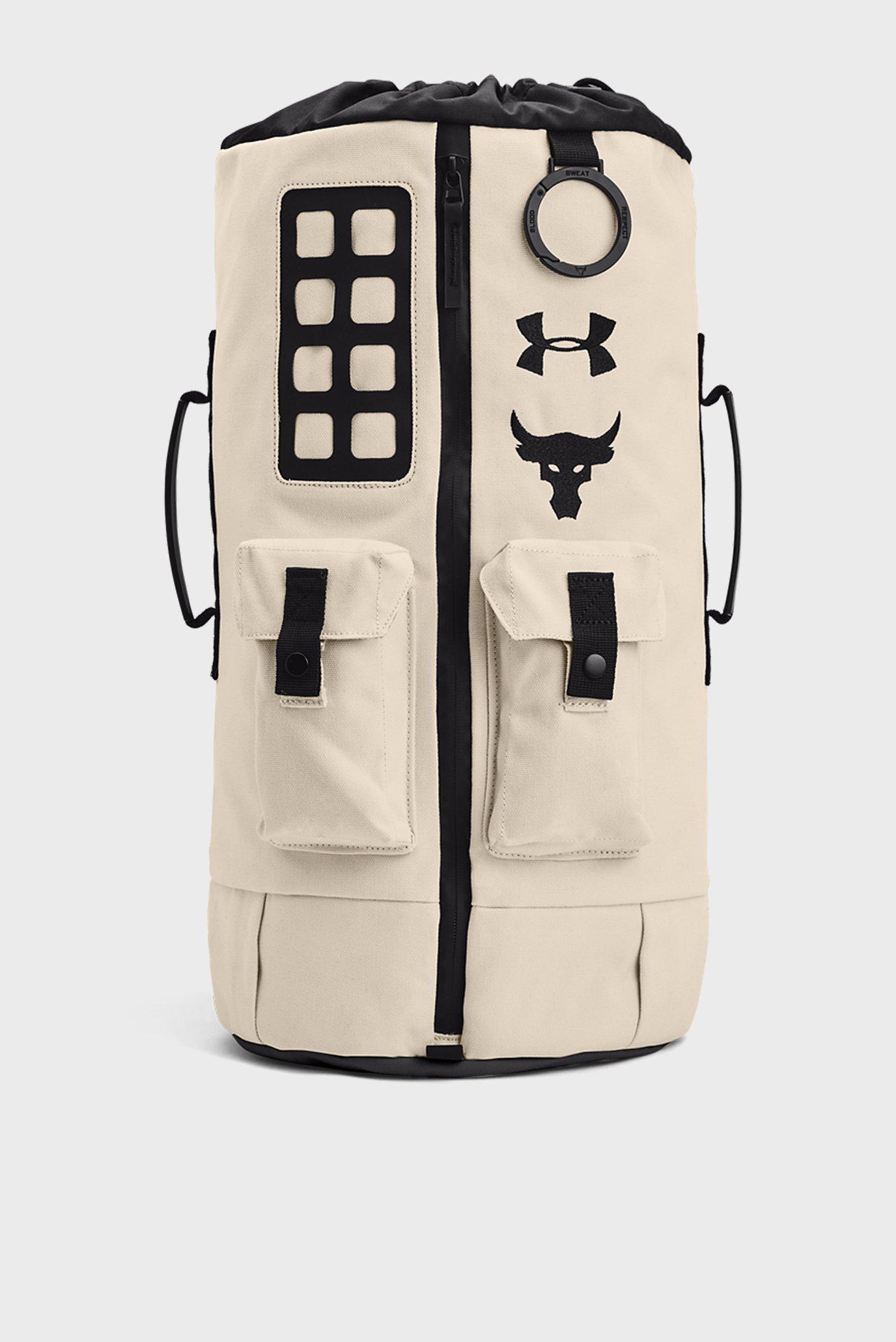 Біла спортивна сумка UA Project Rock 60 Gym Bag-WHT 1