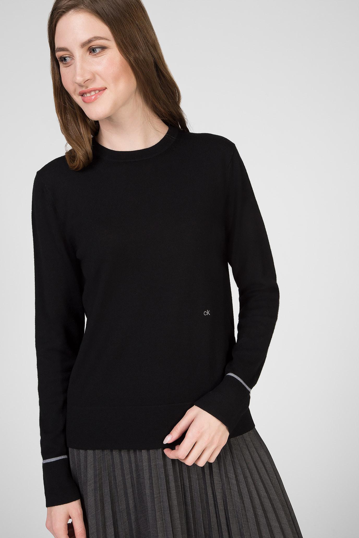 Женский черный шерстяной джемпер SUPERFINE Calvin Klein