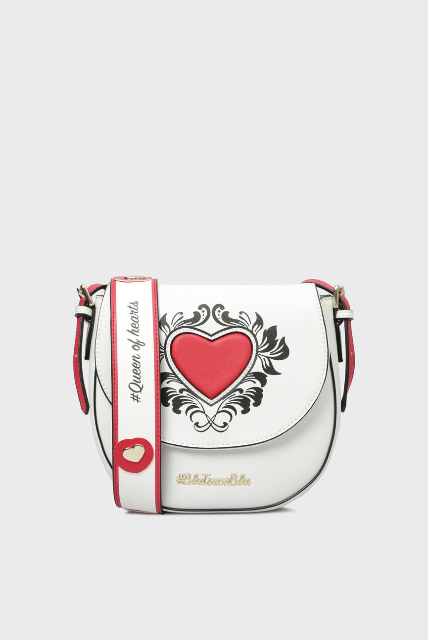 Женская белая сумка через плечо POKER