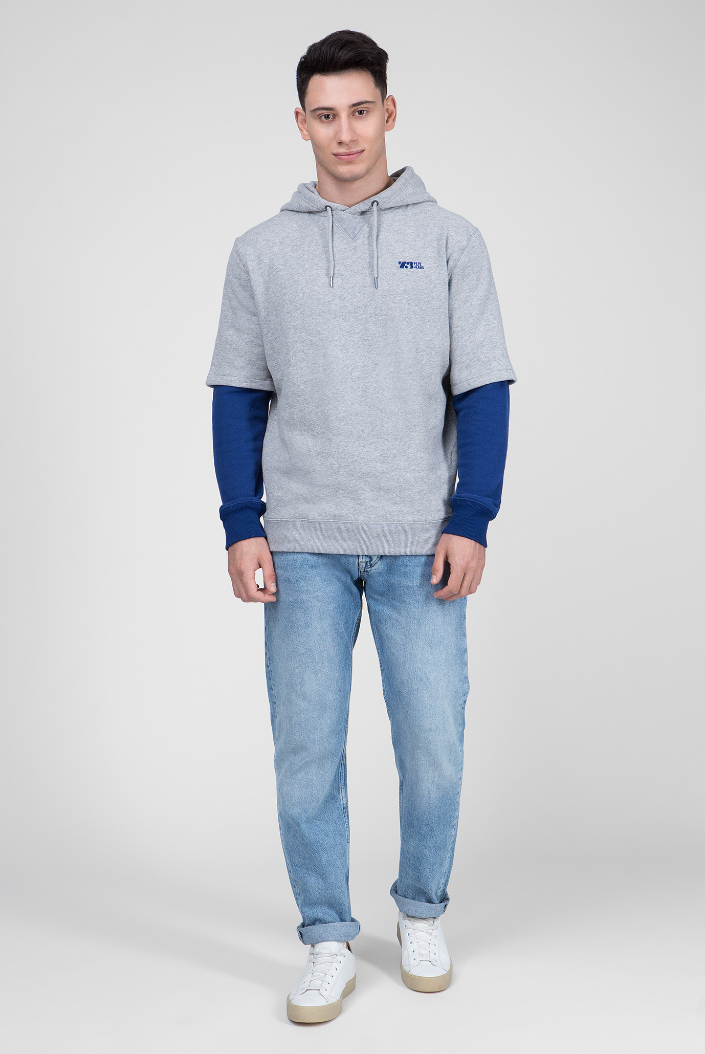 Купить Мужское серое худи SCRIPT Pepe Jeans Pepe Jeans PM581484 – Киев, Украина. Цены в интернет магазине MD Fashion