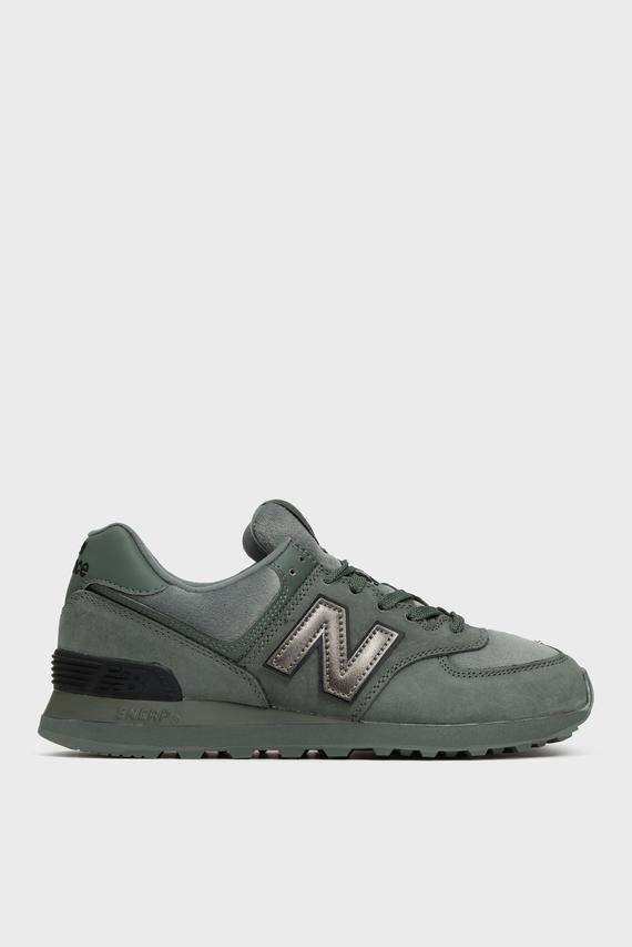 Женские зеленые замшевые кроссовки 574