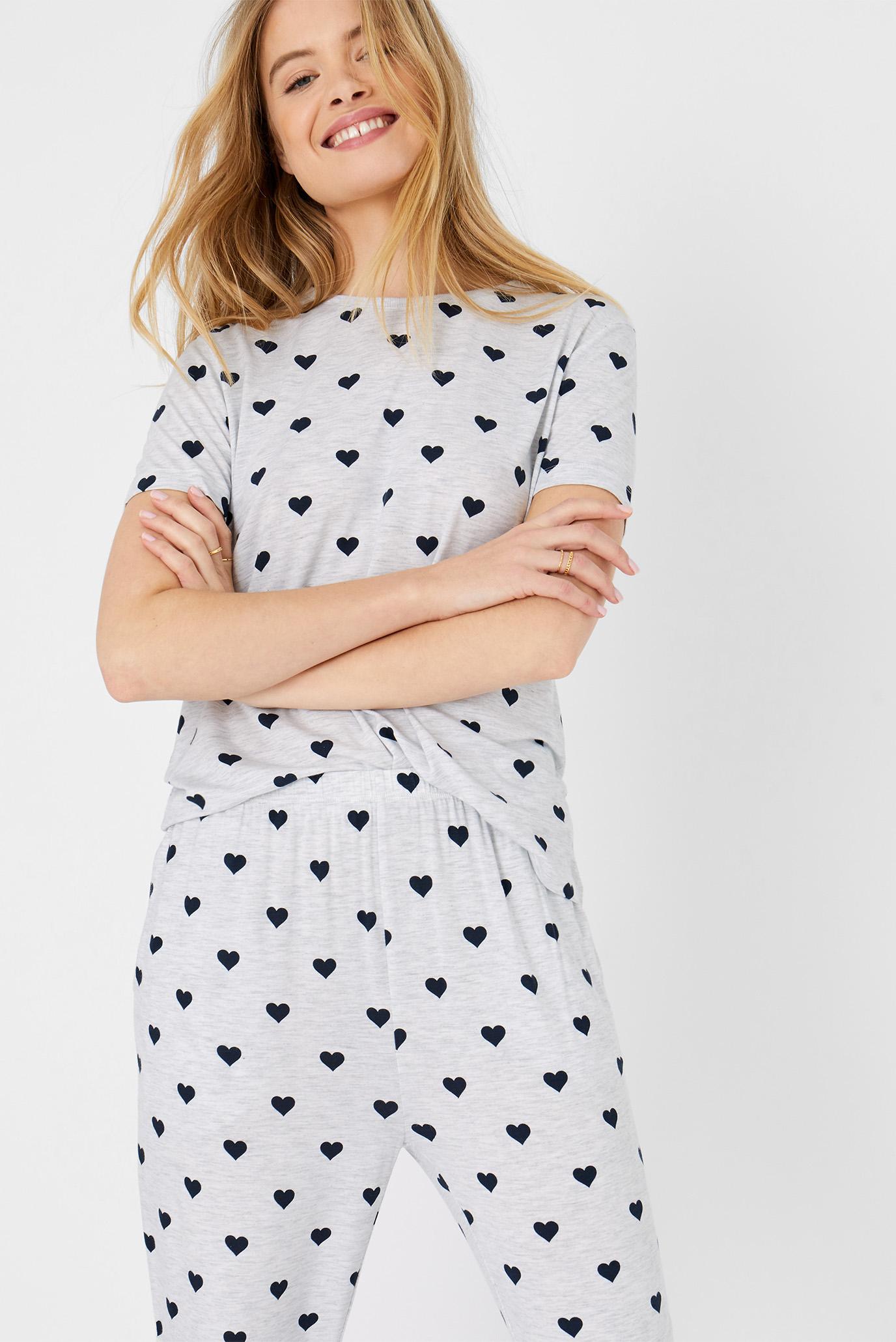 Жіноча сіра піжама (футболка, брюки) HEART PRINT PJ SET 1