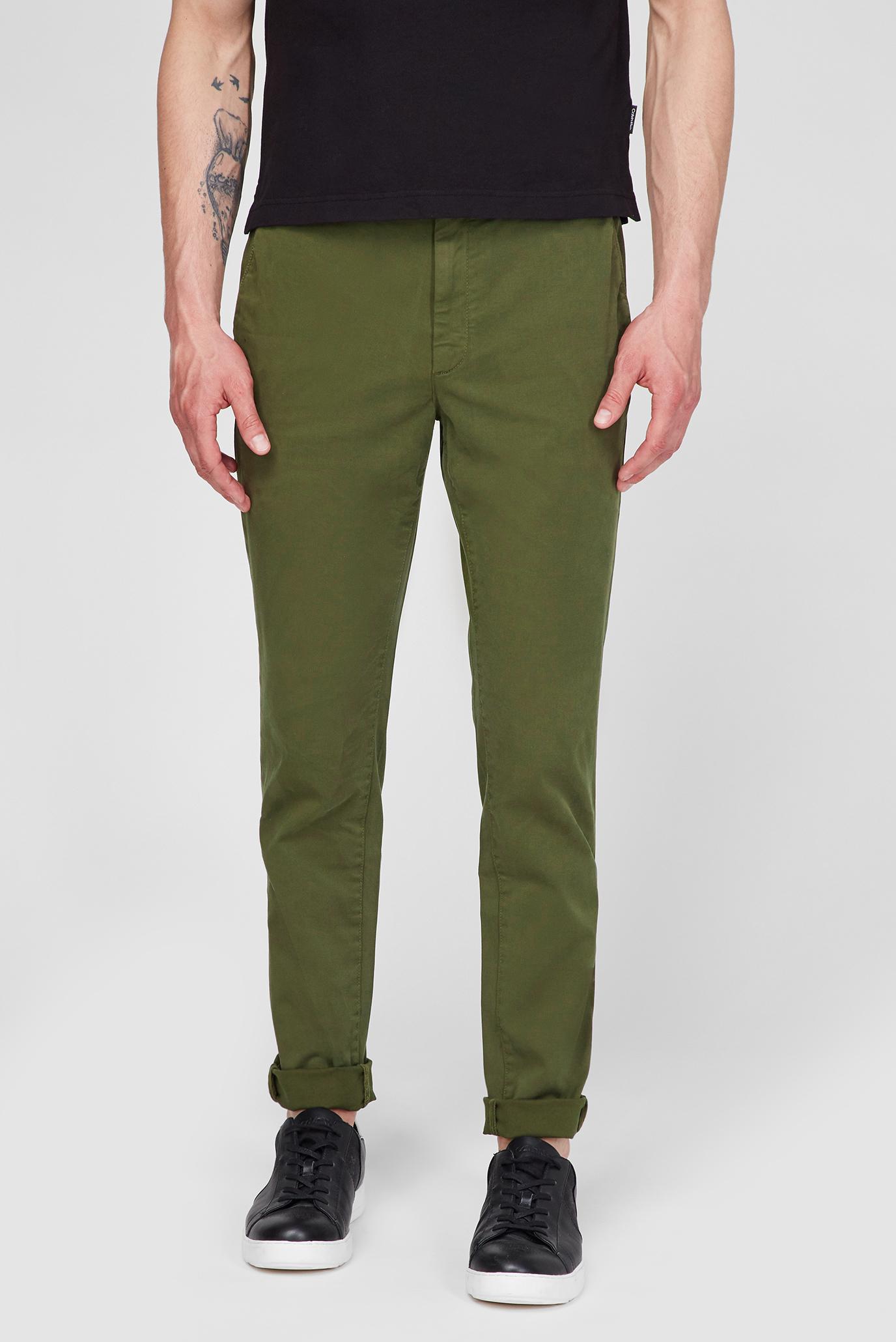 Мужские зеленые брюки SLIM FIT GARMENT DYE CHINO BELT 1