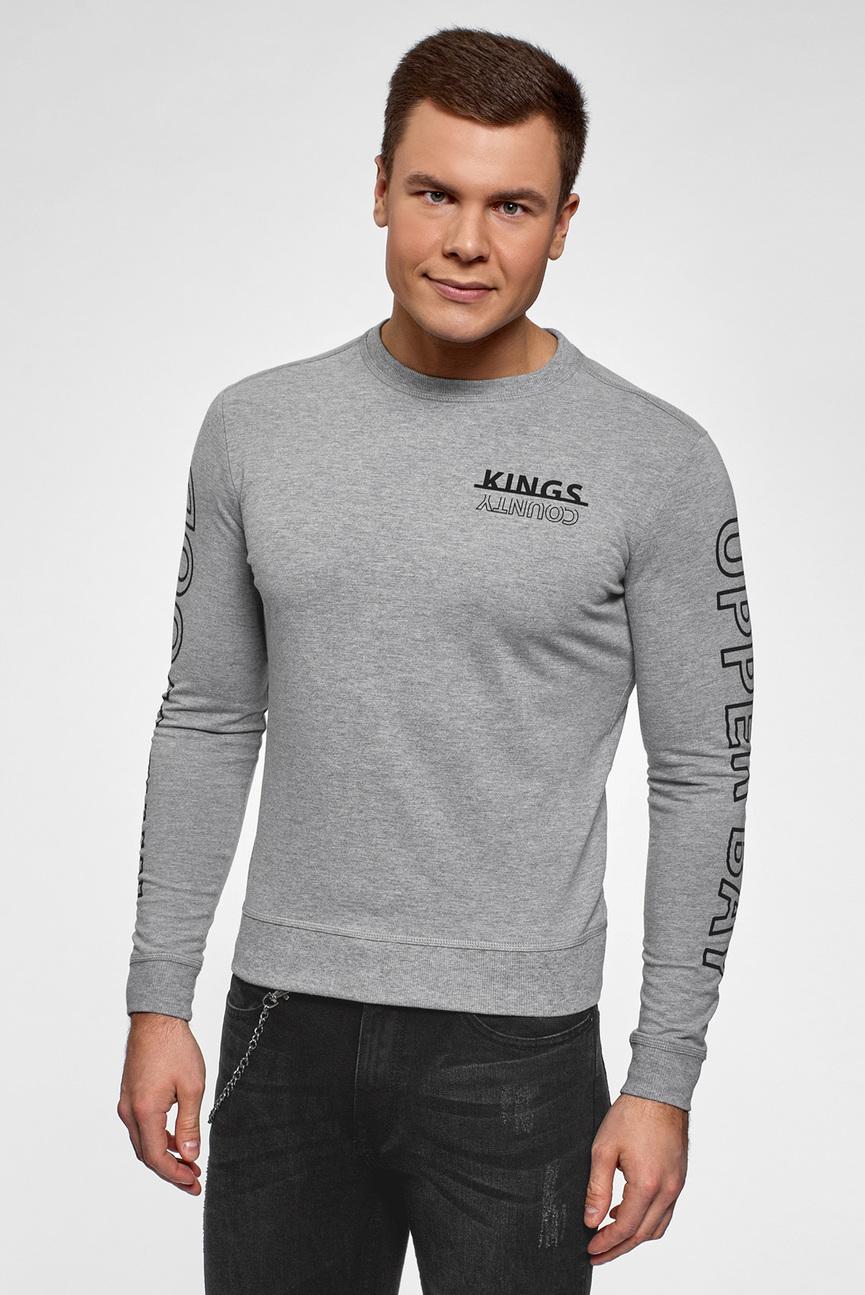 Мужской серый свитшот с принтом