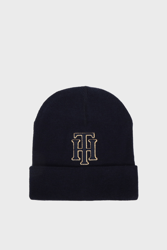 Женская темно-синяя шапка TH BEANIE