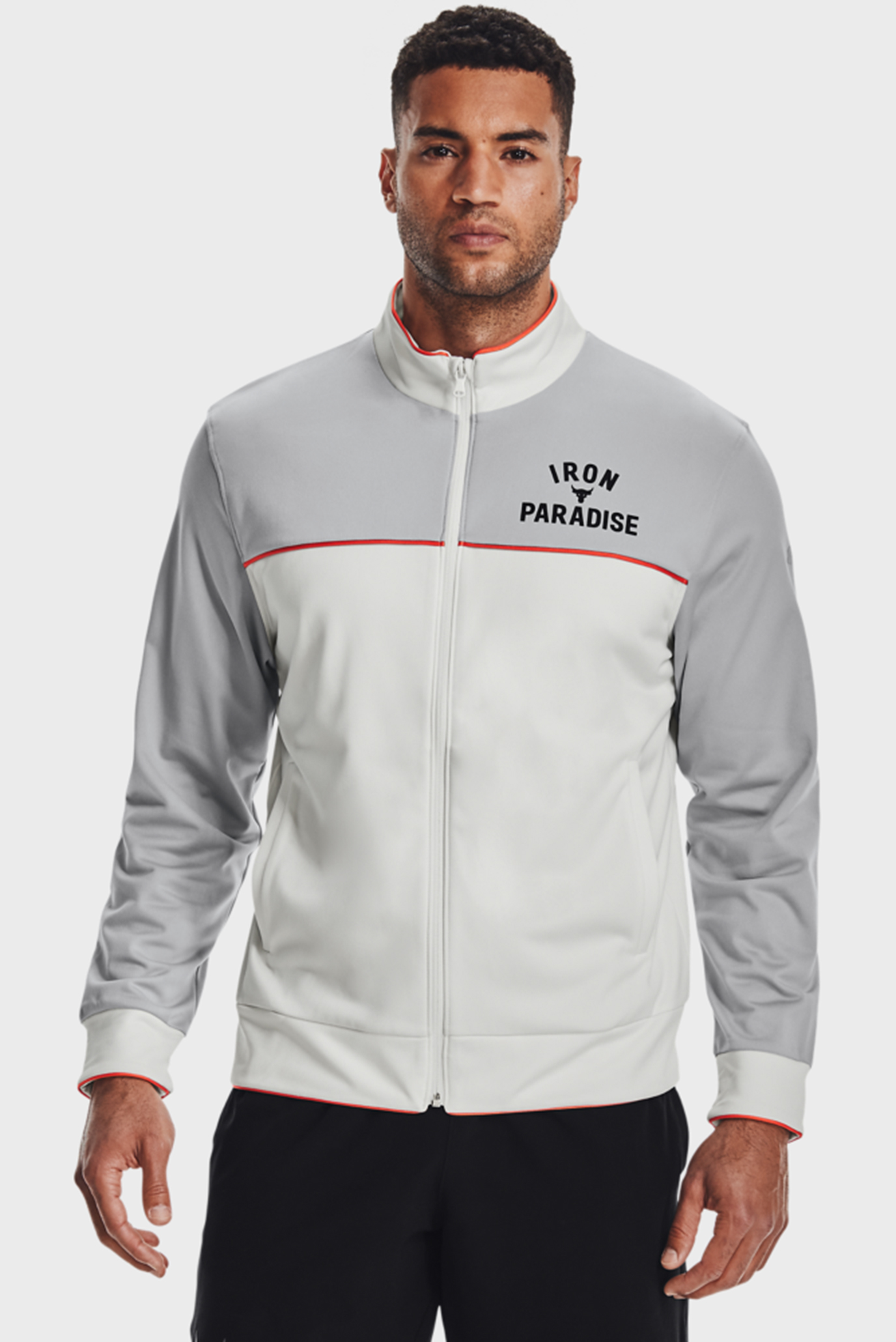 Мужская белая спортивная кофта UA Pjt Rock Knit Track Jckt-WHT 1