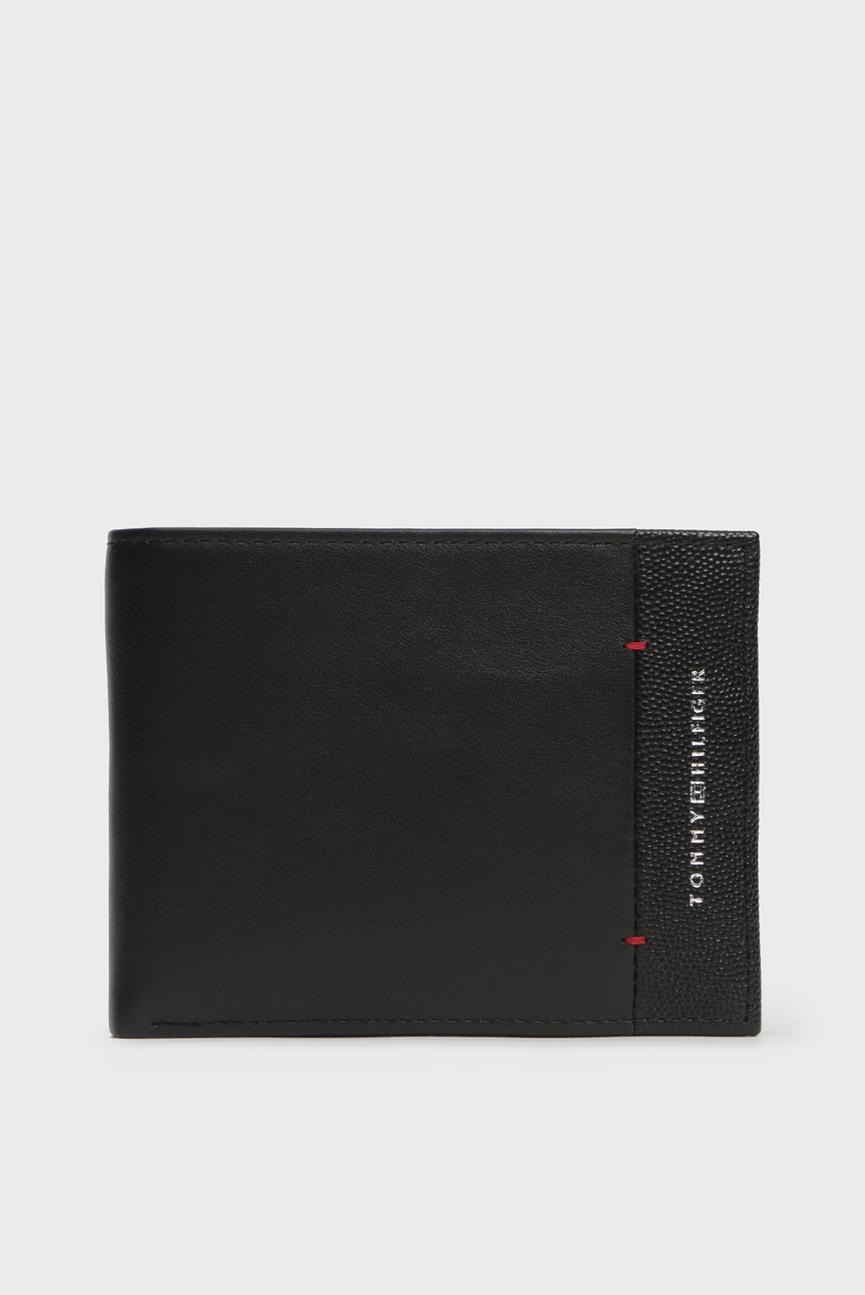 Мужской черный кожаный кошелек TH BUSINESS