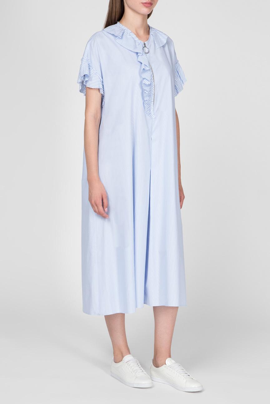 Женское голубое платье в полоску