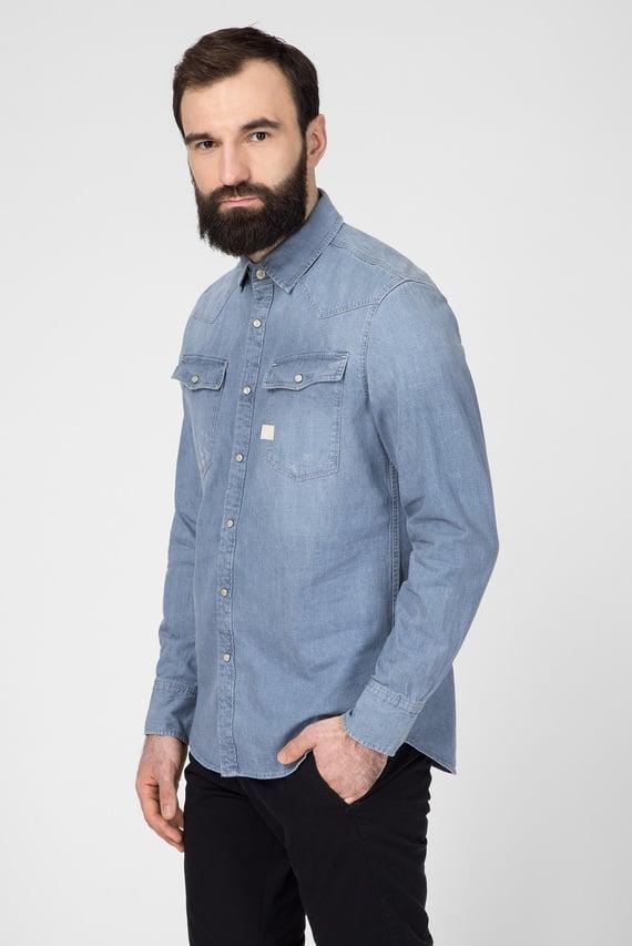 Мужская голубая джинсовая рубашка 3301 Slim