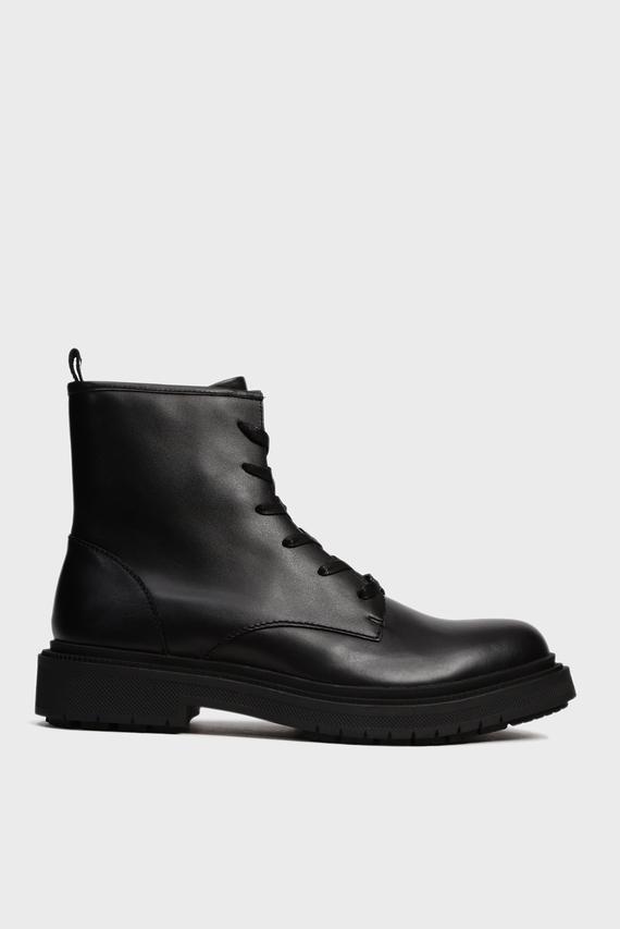 Мужские черные кожаные ботинки ZIBI