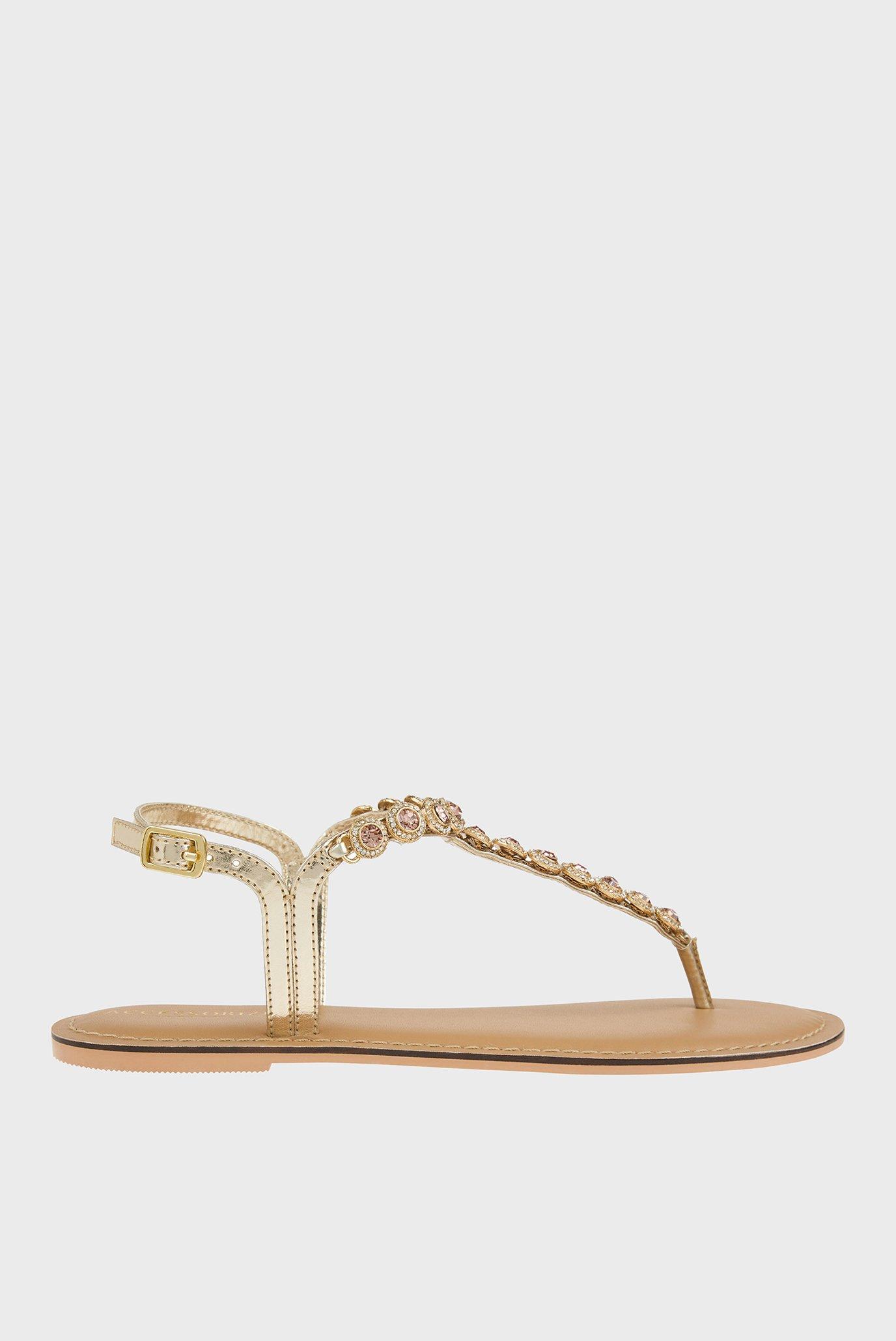 Женские золотистые сандалии REBECCA ROUND CRYSTA 1