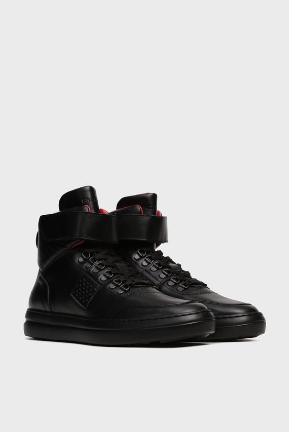 Мужские черные кожаные хайтопы Deco