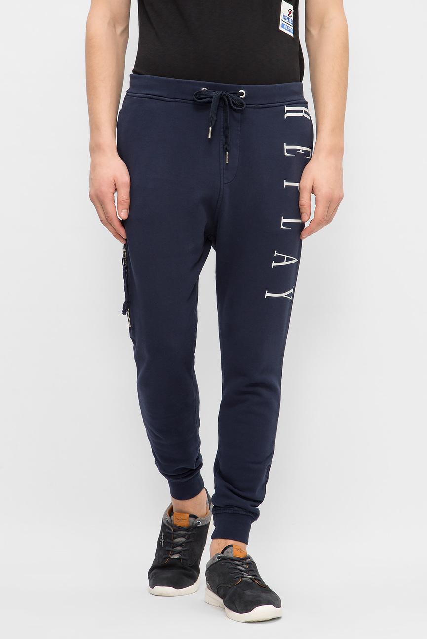 Мужские синие спортивные брюки с принтом