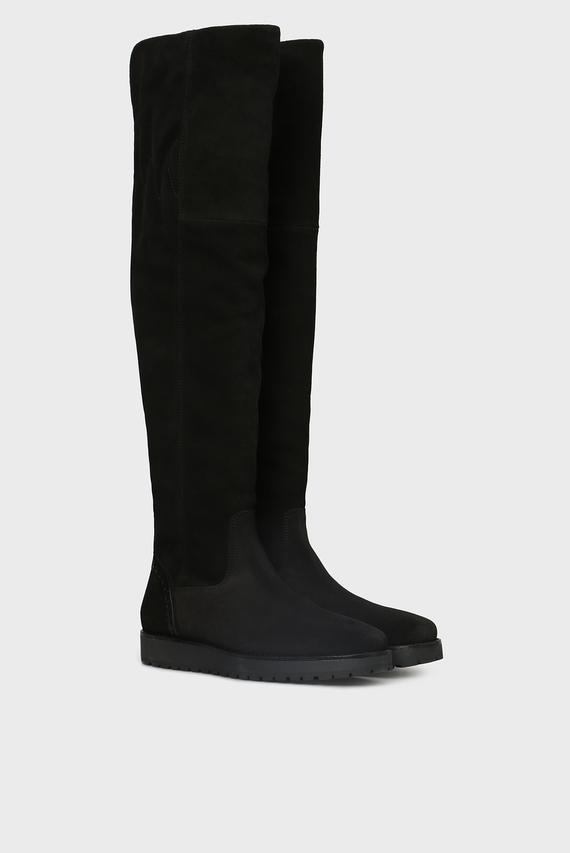 Женские черные замшевые ботфорты