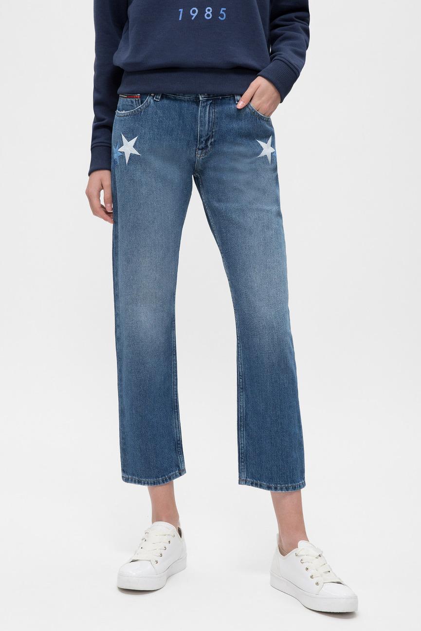 Женские синие джинсы STRAIGHT CROPPED LANA