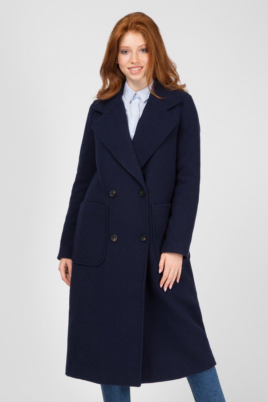 Женское темно-синее пальто