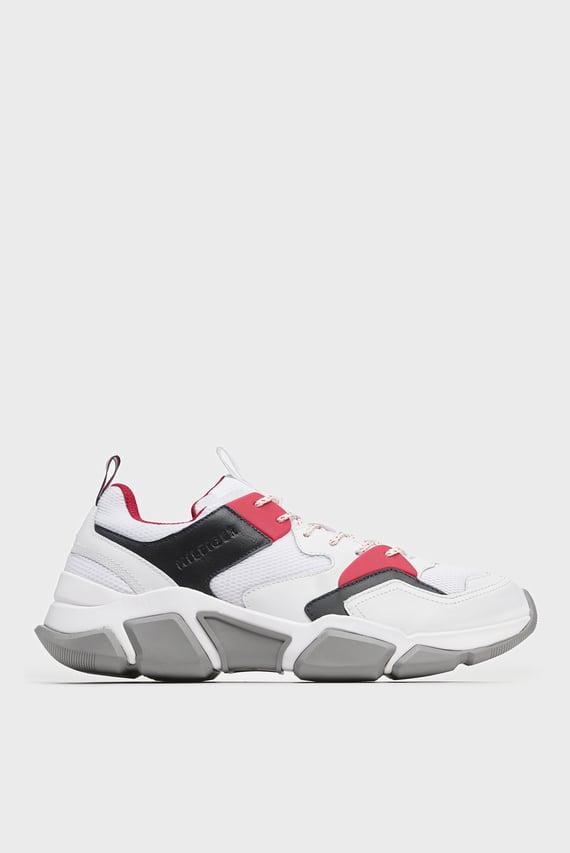 Мужские белые кожаные кроссовки CHUNKY MATERIAL MIX TRAINER